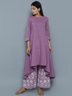 Purple Cotton High Low Kurta with Block Printed Palazzo - Set of 2 (Indo Western Cotton Top) Indian Fashion, Boho Fashion, Fashion Dresses, Kurti Neck Designs, Blouse Designs, Indian Designer Outfits, Designer Dresses, Indian Dresses, Indian Outfits