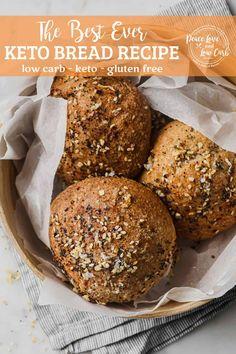 Best Keto Bread, Low Carb Bread, Low Carb Keto, Low Carb Recipes, Bread Recipes, Real Food Recipes, Ketogenic Recipes, Bun Recipe, Dough Recipe