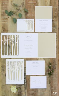This charming stationery set has everything you need to make the ultimate wedding invitation! Inspired by the beauty of a serene wilderness, these impressive laser-cut invitation cards are the perfect way to bring an extra touch of natural elegance to your wedding invitations.