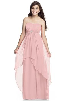 Dessy Spring 2015 Junior Bridesmaid Dress Style The junior version of style A floor length strapless Lux Chiffon dress with hi-lo overskirt and rhinestone broach detail at the Empire Waist waistline. Junior Dresses, Girls Dresses, Prom Dresses, Formal Dresses, Wedding Dresses, Dessy Bridesmaid Dresses, Junior Bridesmaids, Chiffon Gown, Gold Dress