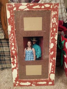 Picture frame out of an old cabinet door.