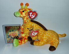 059dcfdd50c TY Giraffe Beanie Baby Lot - 1st Gen Twigs   3rd Gen Giraffiti + Rare Card   TYBeanieBaby
