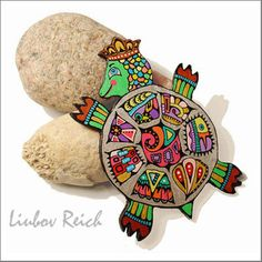 Great idea for stone art too! Hand Painted Leather Brooch Pin Colorful Turtle by Liukas on Etsy, $35.00