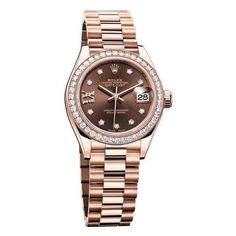 Rolex Women's Datejust Chocolate Diamond Dial 18K Ever Rose Gold... ($33,550) ❤ liked on Polyvore featuring jewelry, watches, rolex wrist watch, dial watches, pink gold watches, 18 karat gold watches and rolex watches