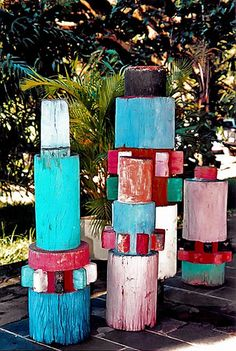 Garden sculptures by Roberto Burle Marx - what if we used pieces from different species and different sizes from all the trees we've had cut for a more natural looking version?