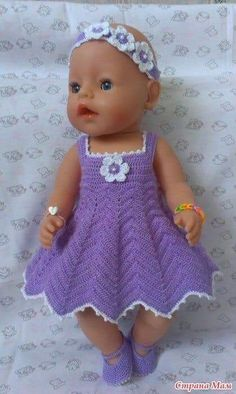 Linda Cook's media content and analytics Knitting Dolls Clothes, Crochet Doll Clothes, Doll Clothes Patterns, Crochet Dolls, Baby Born Clothes, Baby Girl Crochet, Baby Patterns, Baby Knitting, Baby Dress