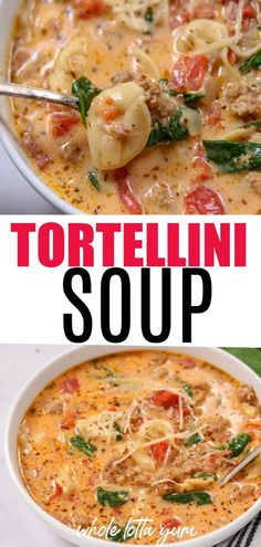 Tortellini Soup (Crockpot, Instant Pot) A creamy instant pot and crock pot tortellini soup recipe filled with Italian sausage, spinach, tomatoes, and flavor. Make this a healthy tortellini soup by just skipping the cream and using chicken sausage. Crock Pot Tortellini, Spinach Tortellini Soup, Italian Sausage Tortellini Soup, Crockpot Recipes, Healthy Recipes, Healthy Crock Pots, Crock Pot Soup Recipes, Crock Pot Food, Eating Clean