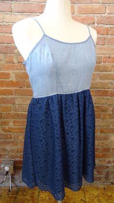 Mossimo Navy Blue Lace Chambray Denim Tank Dress Trendy Cute Flirty Sexy Size XL #Mossimo #Sundress #CasualEventSummer