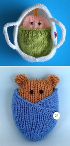 Knitting Pattern for Wrapped Up Baby and Baby Bear in blanket and basket- The baby in both patterns are the same size so they are interchangable with the basket and blanket. Knit flat on straight needles. The babies are about 9cm (3 1/2″) long and 7cm (3″) wide. The basket measures about 13cm (5″) long and 9cm (3 1/2″) wide. Designed by Kookla Creations who allows the selling of finished items. Great use for scrap yarn!