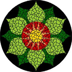 Completed Heart Chakra mosaic mandala kit created in ceramic tiles Design by Brett Campbell Mosaics