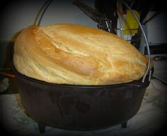 Vegan · Serves 12 · This is an easy, yummy recipe for bread with a harder outside and softer inside without having to spray your oven with water or brush the dough with anything. I have made it in my outdoor dutch oven… Dutch Oven Bread, Dutch Oven Cooking, Dutch Oven Recipes, Fire Cooking, Cast Iron Cooking, Cooking Oil, Cooking Light, Artisan Bread Recipes, Baking Recipes