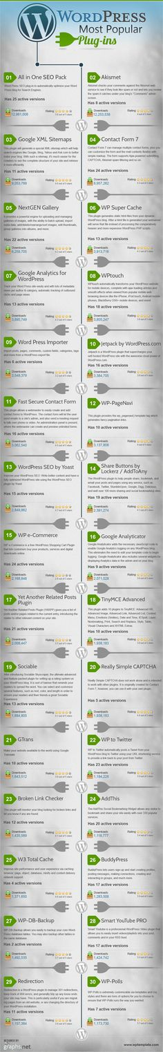 [INFOGRAPHIC] The 30 Most Popular WordPress Plugins: All in One SEO, Akismet, Google XML Sitemaps, Contact Form 7, NextGEN Gallery, more...