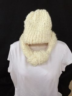 Handmade loom knitted adjustable ivory or cream colored infinity scarf and hat set by knittedbydesign on Etsy