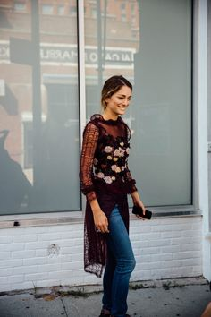 Rodarte dress with jeans - New York Fashion Week September 2016 - Sofía Sánchez de Betak.