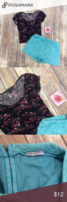 About a Girl Crop with High Waist Shorts Outfit S Super cute Floral soft crop top from About a Girl with turquoise lace soft high waist shorts from Body Central. Selling this as a bundle only! The bottoms are a size medium and top is size small. About a Girl Shorts
