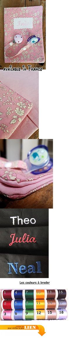 Cadeau de naissance bébé personnalisable - protège carnet de santé - brodé du nom- attache sucette Liberty Capel rose.  #Guild Product #GUILD_BABY