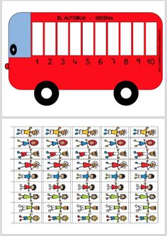 Autobús de las decenas Preschool Math, Kindergarten Math, Teaching Math, Toddler Learning Activities, Math Activities, Touch Math, Maths Area, School Items, Math For Kids