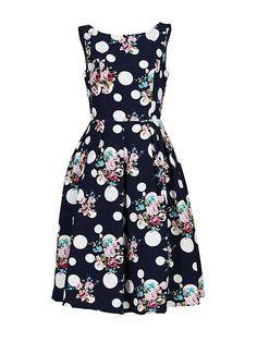 50`s Polka Floral Print Dress
