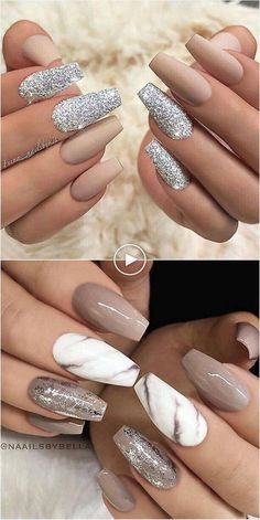 Nail Art Trends 2018 # De beaux ongles en acrylique - WooHoo - Madie U. Classy Nails, Stylish Nails, Trendy Nails, Sophisticated Nails, Simple Nails, Marble Nail Designs, Acrylic Nail Designs, Nail Art Designs, Pretty Nail Designs