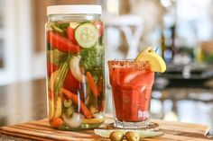 Want to know the secret to the perfect Bloody Mary? Use this Bloody Mary Vodka Infusion. This recipe is made with an assortment of flavorful vegetables and herbs that will make your next Bloody Mary the best one ever! Vodka Recipes, Margarita Recipes, Alcohol Recipes, Drink Recipes, Shot Recipes, Drinks Alcohol, Alcoholic Beverages, Alcholic Drinks, Fun Recipes