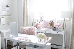 Decorate for fall with blush pink, white and gold accents! home décor; how to decorate for fall. Fall Floral Arrangements, Velvet Pumpkins, Gold Accents, Office Decor, Blush Pink, Pink White, Fall Decor, Color Schemes, Decorating Ideas
