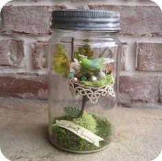 Poppytalk: New Constant Gatherer: Birds Nest Jar Assemblage Mason Jar Crafts, Mason Jars, Terranium Ideas, Garden Terrarium, Terrariums, Recycled Jars, Jar Art, Baubles And Beads, Altered Bottles