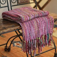 Novica Fair Trade Multicolored Stripes Fringe Edges Hand Woven Indian  Seema Throw Blanket