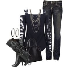 """concert"" by fluffof5 on Polyvore: Love this Edgy Rocker Chic Look, Perfect for a Concert Night! Check out the Shirt with Cut Out Strips & the Black Scrunchy High Heeled Boots!"
