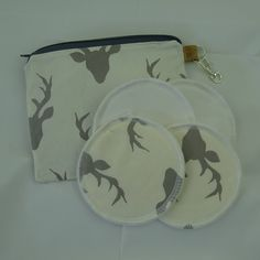 Hello Bear Buck Forrest cream and silver print zipper pouch with reusable breastfeeding nursing pads set, gifts for her, stocking fillers Modern Cloth Nappies, Nursing Pads, Cosmetic Pouch, Waterproof Fabric, Coordinating Fabrics, Stocking Fillers, Zipper Pouch, Printed Cotton, Breastfeeding