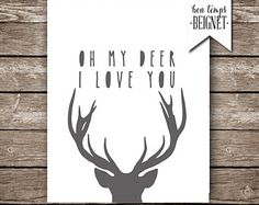 """Oh My Deer I Love You - Printable Artwork - 8x10"""", 11x14"""", and A4 - Deer Silhouette with Paper Cut Font - INSTANT DOWNLOAD"""