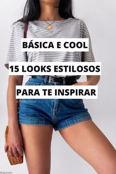 Looks Com Short Jeans, Boho Fashion, Fashion Outfits, Thing 1, Estilo Boho, Skinny, Casual Looks, Jean Shorts, Ideias Fashion