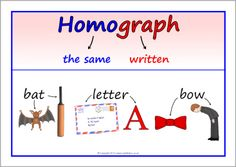 Homograph and homophone explanation posters