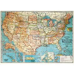 Antique reproduction of a USA map from the 30's. Ready for framing. $4.99