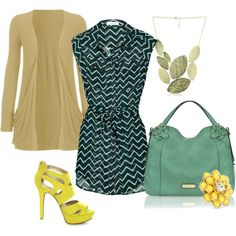 Mint and yellow, created by chosesquejaime on Polyvore