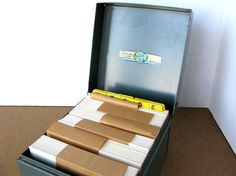 Vintage Metal File Box with Index Cards and A to Z Tab by Sfuso