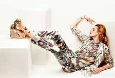 floral print jacket, blouse and pants by Emporio Armani