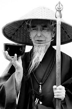 Japanese monk in Ueno, Tokyo, Japan.