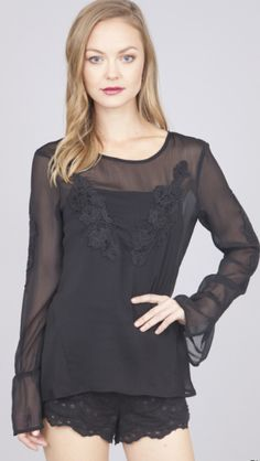 Bella Glitz - Bell Sleeve Floral Embroidered Tunic Top