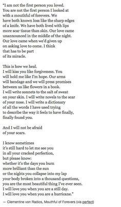 Nice lines....I will kiss you like forgiveness. You will hold me like I'm hope.