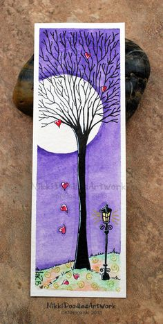 Heart Tree Watercolor Bookmark  by NikkiDoodlesArt on Etsy, $14.00