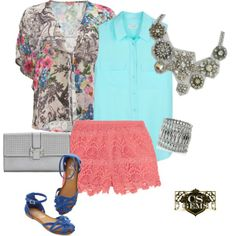 """""""Statement Necklace with Collared Shirt, Kimono Top and Crochet Shorts"""" by cs-gems on Polyvore"""