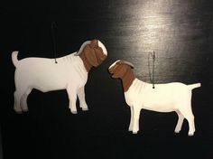 Sold, , 2 Boer Goat Tree Ornaments 6.5 hand cut out hand by Phils4Winds