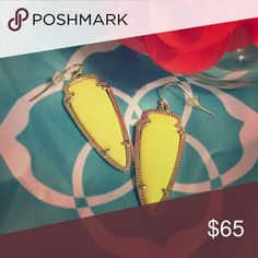 """Kendra Scott Sky Arrow Neon Yellow Earrings The classic arrowhead shaped signature Kendra Scott earring in the mid-sized """"Sky"""" style.  Rare, discontinued neon yellow color! The babies really pop! Authentic, purchased directly from KS. Kendra Scott Jewelry Earrings"""