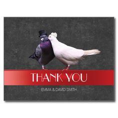 Modern Love Birds Red Ribbon Chalkboard Thank You Postcard