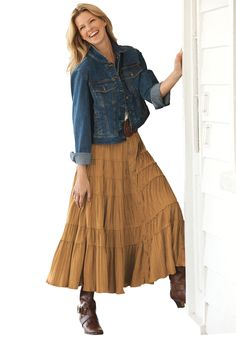 Plus Size Skirt in soft-as-suede moleskin | Plus Size skirts | Woman Within... it looks great with our denim jacket