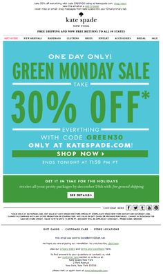 Kate Spade green monday email 2013