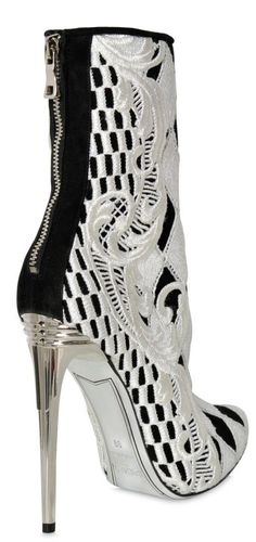 Balmain (BB) sexy high heel bootie in black and white (ankle boot)
