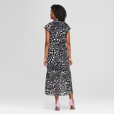 31bb18ed01 Women s Polka Dot Short Flutter Sleeve Midi Dress - Who What Wear Black White  M