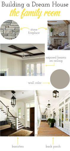 Stone fireplace, exposed beams, grey color, dark wood floors