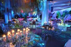 Wow- NatGeo party honoring underwater explorers- lights and mirrored tables mimic water